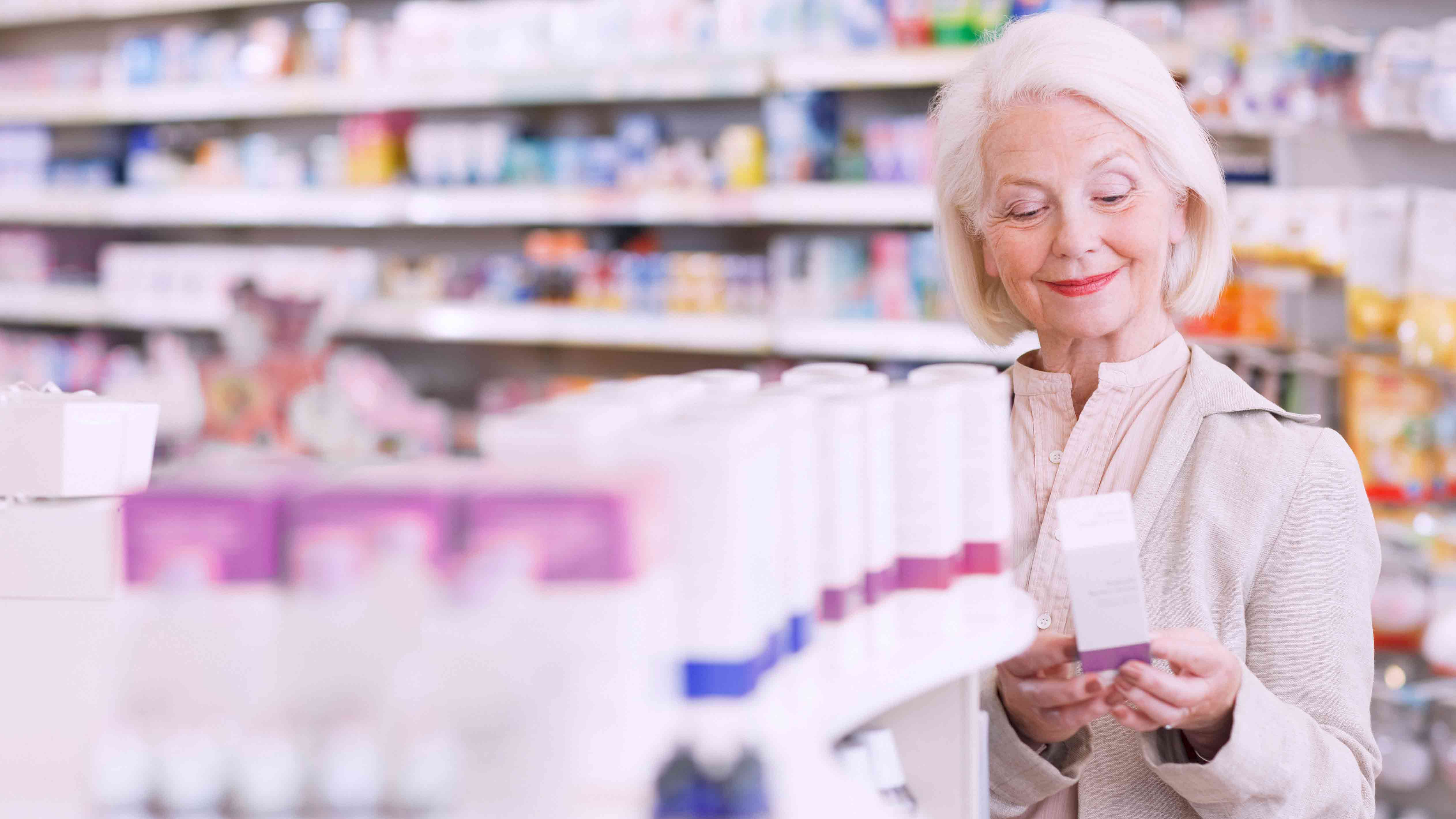 Woman shops at pharmacy